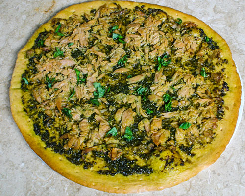 TUNA AND MALAYSIAN PESTO PIZZA